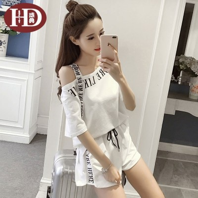 The code of the new summer fashion leisure suit female Korean loose Strapless tops baggy shorts two piece set
