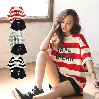 Striped casual suit, female short sleeved Korean style student sportswear, loose big fat, mm fashion shorts, two sets