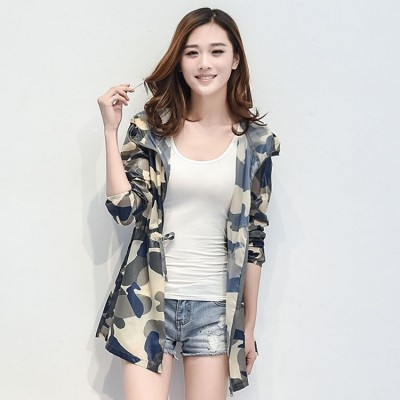 Sunscreen clothing long thin girls size  summer beach sunscreen clothing sunscreen shirt sweater air camouflage jacket