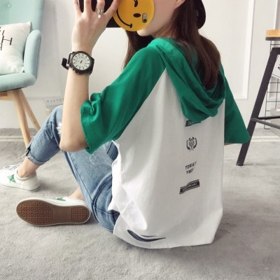 Korean students all-match fashion show thin loose hooded five sleeve T-shirt shirt half sleeve shirt and female