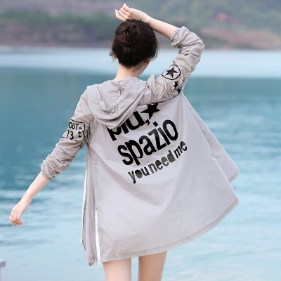 The  summer sun protection clothing all-match skin clothing in the long thin coat hooded clothing sunscreen sunscreen shirt printing loose