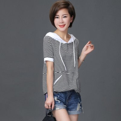 The autumn  summer new Korean fashion all-match hooded fine striped short sleeved T-shirt Blouse Shirt
