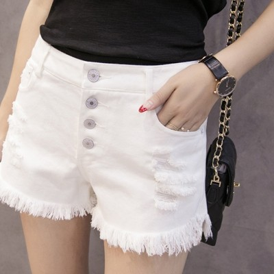 The summer white breasted denim shorts female waist loose burr hole students wide leg pants Stretch Skinny Pants