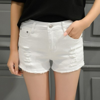 Summer students white hole elastic denim shorts female burr size Korean loose thin wide leg pants tide
