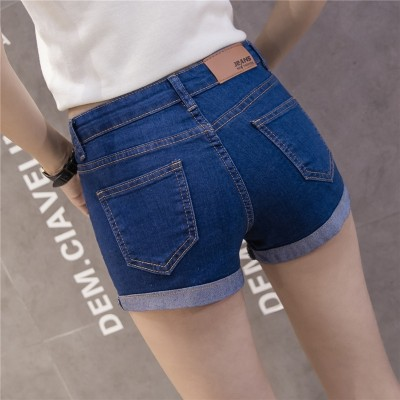 Jeans shorts, female summer waist, elastic flanging, broken holes, burrs, big yards, Korean version of slim, students shorts, female Xia