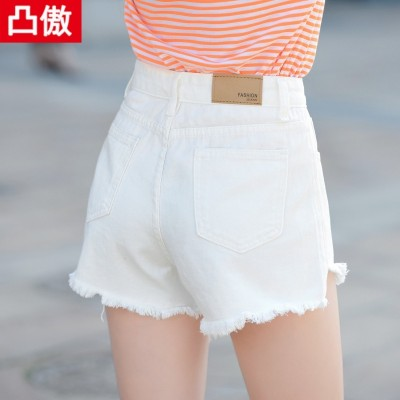DKNY jeans female student summer white hole flash loose Shorts Size Korean wide leg pants