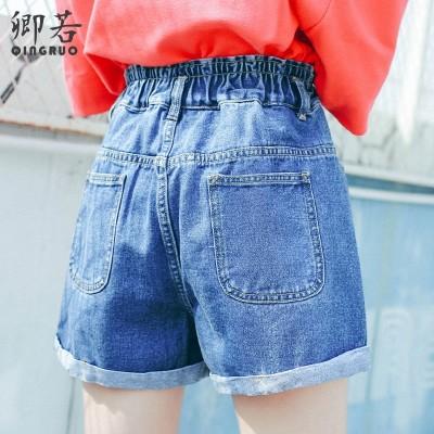 Elastic waist high waisted denim shorts in summer  new female Korean loose fat mm edge thin Shorts Size tide