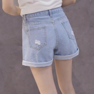 new summer denim shorts female Korean hole loose thin lipped wide leg pants students short pants tide