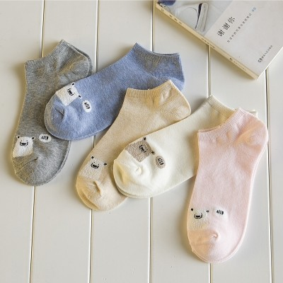 Socks children summer socks thin, pure cotton boat socks, ladies shallow contact socks, anti-skid low, help Korean lovely female socks