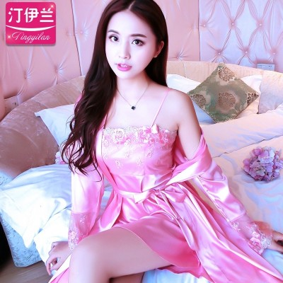 Female summer ice silk pajamas short sleeved dress skirt sexy nightdress two piece silk Home Furnishing female summer clothing