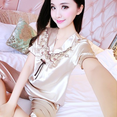 Female sexy pajamas summer short suit thin silk silk Home Furnishing Korean summer clothing size lovely lace