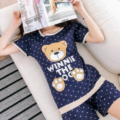 Pajamas female summer cotton short sleeve shorts, summer ladies leisure loose two sets, summer cotton suit suit