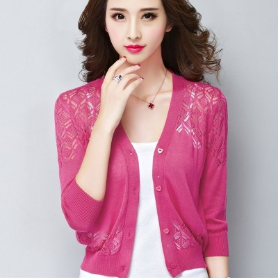 A small thin V collar cardigan sweater coat female short small shawl sweater sweater hollow summer new air conditioning