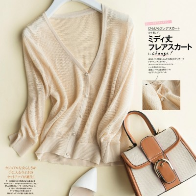 The new summer V pure female knit cardigan collar shirt short coat sunscreen air conditioning shawl cardigan
