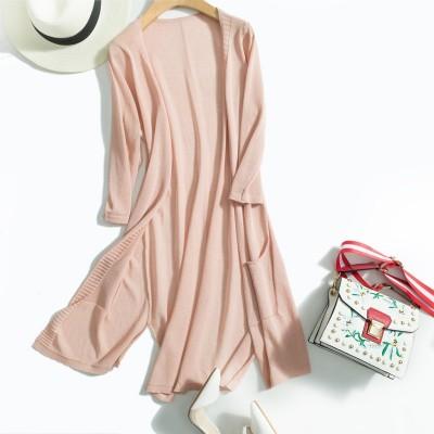 The new long sleeve shirt silk cardigan seven air sunscreen shirt thin solid thin silk sweater coat