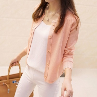 Korean women's sweater cardigan sweater coat a thin and short paragraph  new spring air jacket