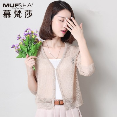 summer new dress tide loose hollow short sweater cardigan sweater female thin small jackets women