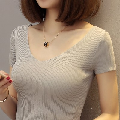 Silk knit short sleeved V shirt collar sexy female shirt thin tight sweater slim sleeve head short summer