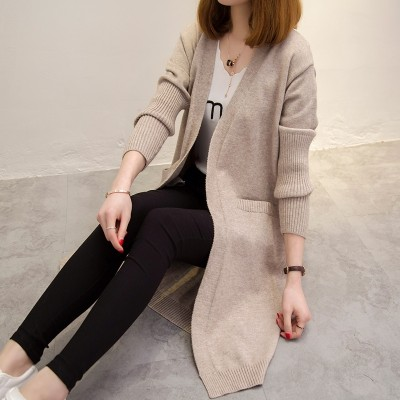Long sweater coat women sweater cardigan  autumn new dress coat all-match loose.