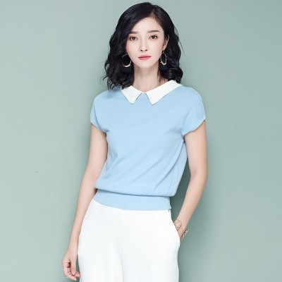 Thin silk knit female summer turtleneck short sleeved sweater doll collar loose thin T-shirt and jacket