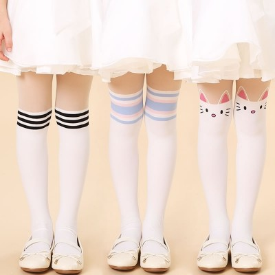 Girls Tights, spring and summer thin, children's stockings, grounding socks, fake high baby dance, white conjoined socks