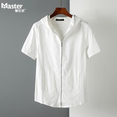 The trend of summer slim hooded short sleeved t-shirt men zipper cardigan Mens Hooded Shirt sleeve semi thin coat