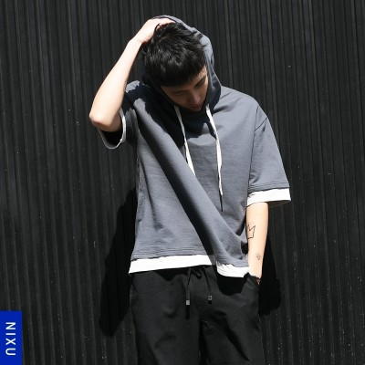 In the summer of  sets of Korean male head short sleeved T-shirt cap hat even Japanese men loose tide half sleeve shirt Hoodie