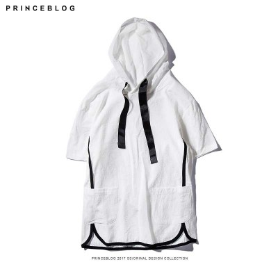 The summer male color short sleeved Metrosexual British Hoodie Hoody male hooded linen couple tide brand T-shirt