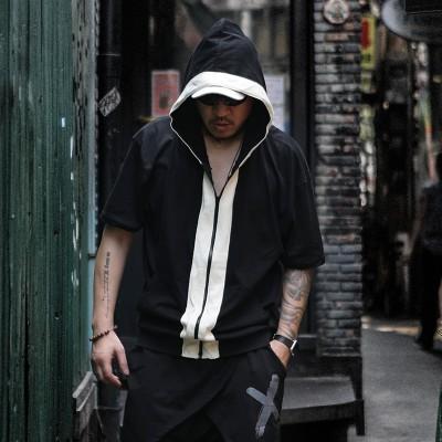 Diablo individuality Metrosexual hip-hop Hoodie loose size T-shirt with cap rock fat fat increase