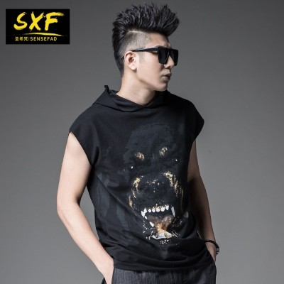 SXF Shengxi a short sleeved summer  tide male Hooded Vest sleeveless T-shirt printing tide brand men's T-shirt