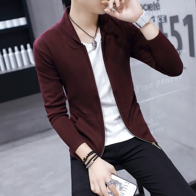 In the spring of  the new trend of men's jacket sweater coat and wear casual knit cardigan Korean slim