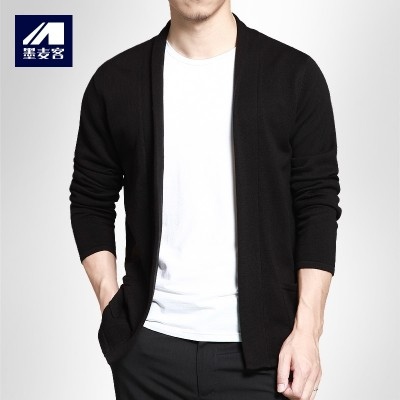 Mack Mens Casual cardigan ink new spring men's sweater sweater slim Korean coat thin male tide