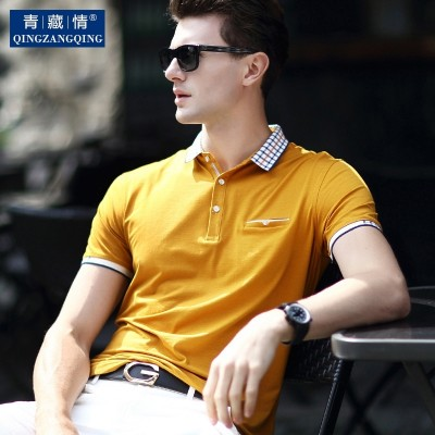 summer men's mercerized cotton, mid aged men's short sleeve T-shirts, turndown shirts, polo shirts, shirts, dads