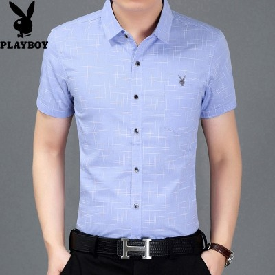 Dandy men's Short Sleeve Shirt lattice Korean business casual slim wrinkle free shirt shirt tide male youth