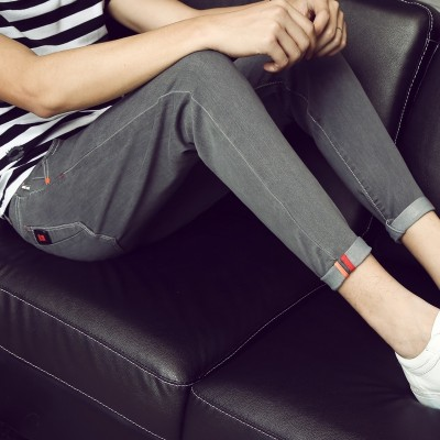 Summer, thin nine jeans, men's  Korean version, self-cultivation trend, new feet, casual 9 points, men's pants