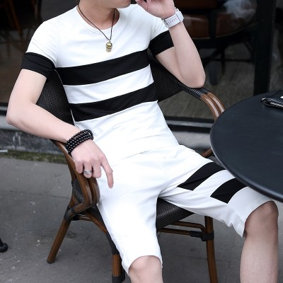 the new leisure suit, men's summer trend Korean, handsome clothes, fashion short sleeved T-shirt, a men's clothing