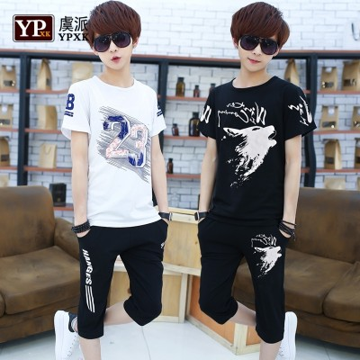 Junior men's summer junior high school students, short sleeve, two piece Korean version, seven point pants, casual sportswear