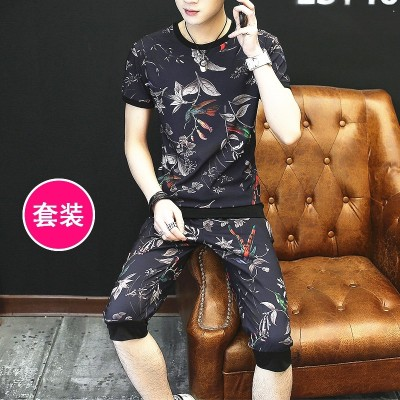 Short sleeve t-shirt men's suit, summer Korean Shorts Set, trend, personality, leisure, two sets, men's clothes