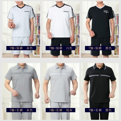 Sports suit, men's summer short sleeved shorts, casual sports clothes, men's running clothes, middle-aged and elderly father, thin money