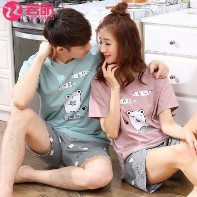 Lovers' pajamas, women's summer short sleeves, pure cotton Korean set,  men's cotton, simple summer clothes, leisure clothes