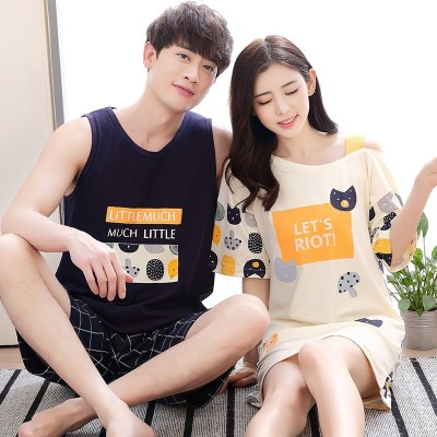 A couple of summer cotton pajamas female summer sleeveless vest short sleeve nightdress Home Furnishing suit men's suits