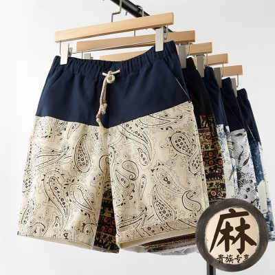 Summer summer linen SHORTS MEN loose pants pants breeches code five big pants tide beach pants seven