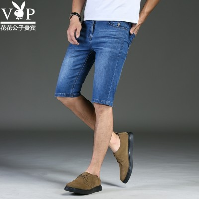 Dandy DENIM SHORTS MEN Summer Youth breeches straight thin slim men's pants five