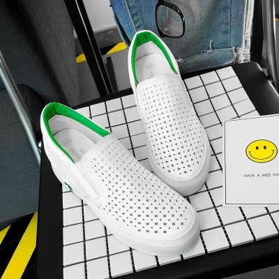 , spring and summer new women's shoes in the bottom of the increase, hollow, breathable leisure, foot tic lazy shoes tide