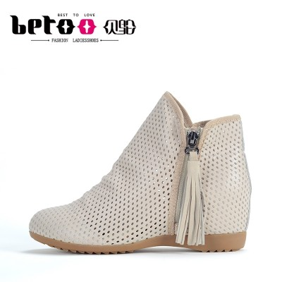 Bei Tuo spring  new leather shoes burst in a hollowed out breathable mesh leather boots female.