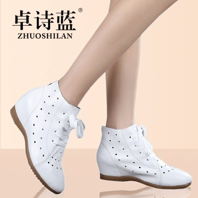 spring and summer new increase in women's boots, leather boots, hollow Martin boots, nurse shoes, white boots, small yards