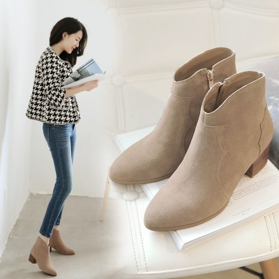 Leather heel and heel boots, pointed Martin boots, cowhide heels, single boots, winter and winter women's boots, bare boots, women's shoes