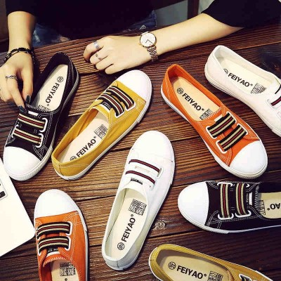 Yao Fei white shoes summer female  new all-match Korean flat lazy pedal shallow mouth shoe