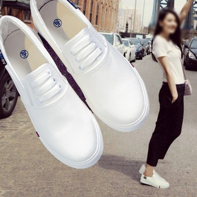 In summer  canvas shoes casual shoes shoes slip on loafer flat white shoe all-match Korean Students