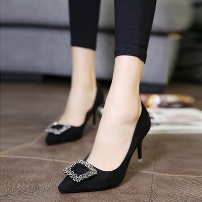 Europe and the United States in the spring with fine points, women's shoes, shoes, diamond, square buckle, high-heeled shoes, red wedding shoes, black shoes
